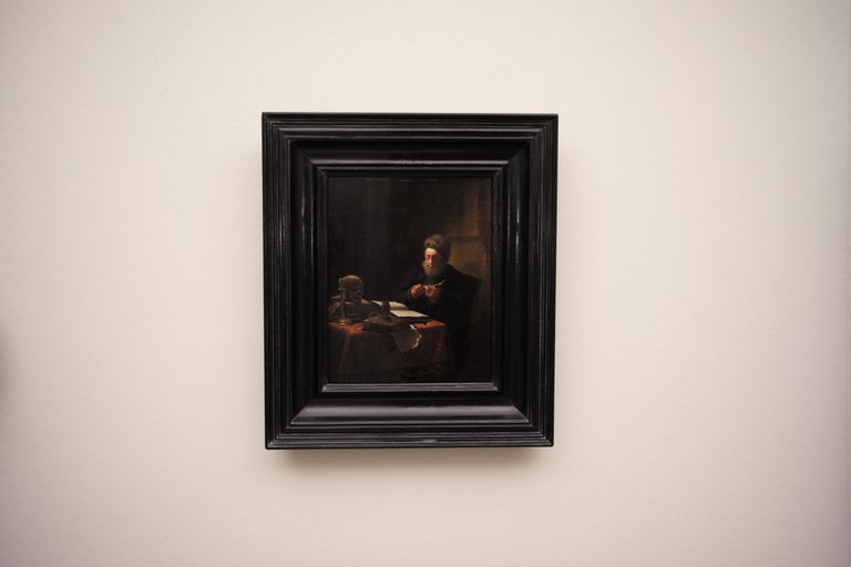 Scholar Sharpening His Quill Penn, Circle of Frans van Mieris II, Oil on Panel - Old Masters Painting by Frans van Mieris II