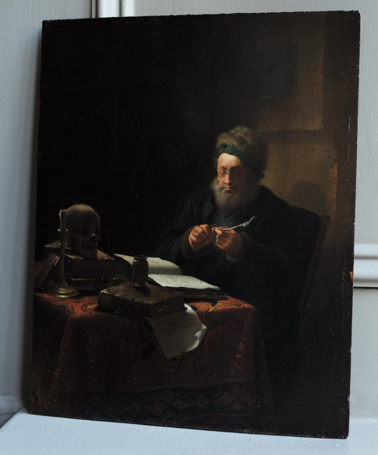 Scholar Sharpening His Quill Penn, Circle of Frans van Mieris II, Oil on Panel For Sale 3