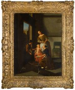The Grape Seller by Jacob Ochtervelt (Workshop), oil on canvas, period frame