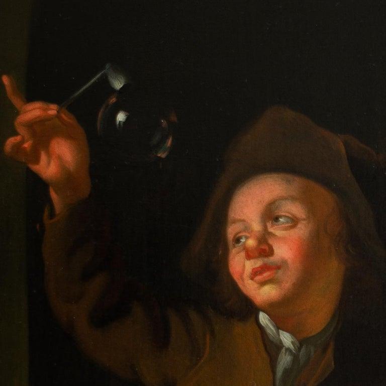 A Young Couple Blowing Bubbles at a Window, Follower of Louis de Moni, Oil Panel - Black Figurative Painting by Louis de Moni