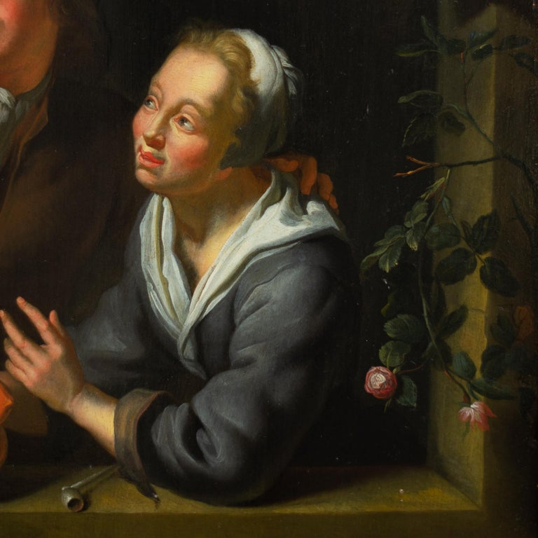 Louis de Moni (1771-1698) (Follower of)  A Young Couple Blowing Bubbles at a Window  Expertise:  Dr. Fred G Meijer   oil on panel board size 14.76 x 11.41 inches (37.5 x 29 cm) frame dimensions 22.04 x 18.89 inches (56 x 48 cm)  Provenance: Disp. H