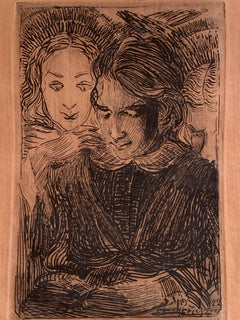 Composition with Reading Girl by an Unknown Artist, Ink on Paper, Dated 1922