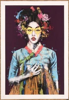 Fin Dac - Sonyeo - Purple ED. Hand Embellished GoldLeaf - Graffiti Street Art