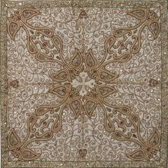 Jamavar: Ecru - Embroidered Tapestry Wall Hanging