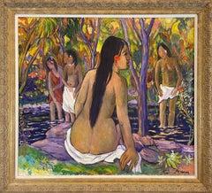 Polynesian Girl Bathing - Original Oil