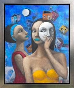 Hector Acevedo ** Mascarade ** Original Oil On Canvas