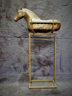 Bogulaw Popowicz, Unique Golden Horse, Welded Ceramic Technique, 60x35x12cm 2019