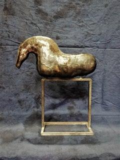 Bogulaw Popowicz, Unique Golden Horse, Welded Ceramic Technique, 39x33x10cm 2019