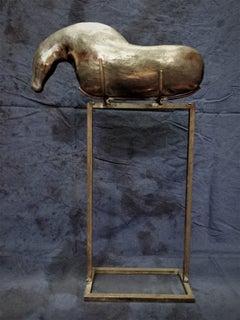Bogulaw Popowicz, Unique Golden Horse, Welded Ceramic Technique, 54x33x10cm 2019