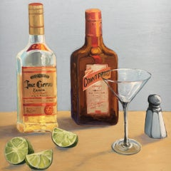 Liquor Bottles and martini glass, limes, salt shaker. Title - Parts to the Whole
