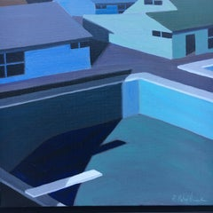 Mid-Century Night Scene of Pool and Houses. Title - Small Blue Painting # 1