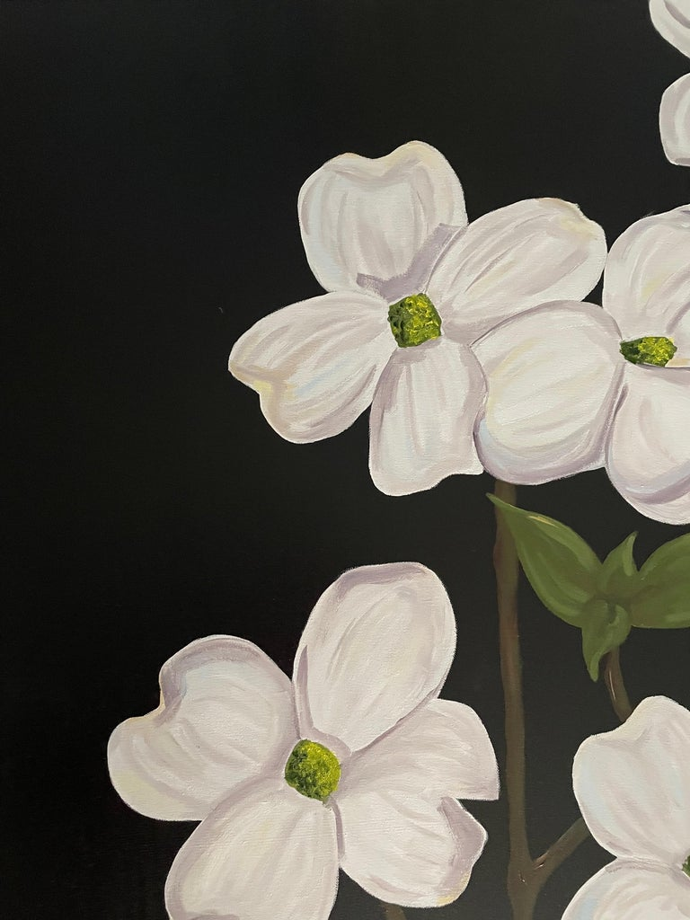 Jubilant White Flowers with Verdant Leaves on Branches. Title - Wild Dogwood - Black Still-Life Painting by Ken Miller