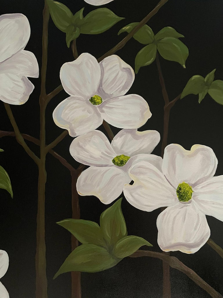 From the artist's recent flower series. Wild dogwood with white flowers and green leaves on branches boldly set against a black background. Oil on canvas painted by American realist Ken Miller. Suitable for display in a home interior, recreation