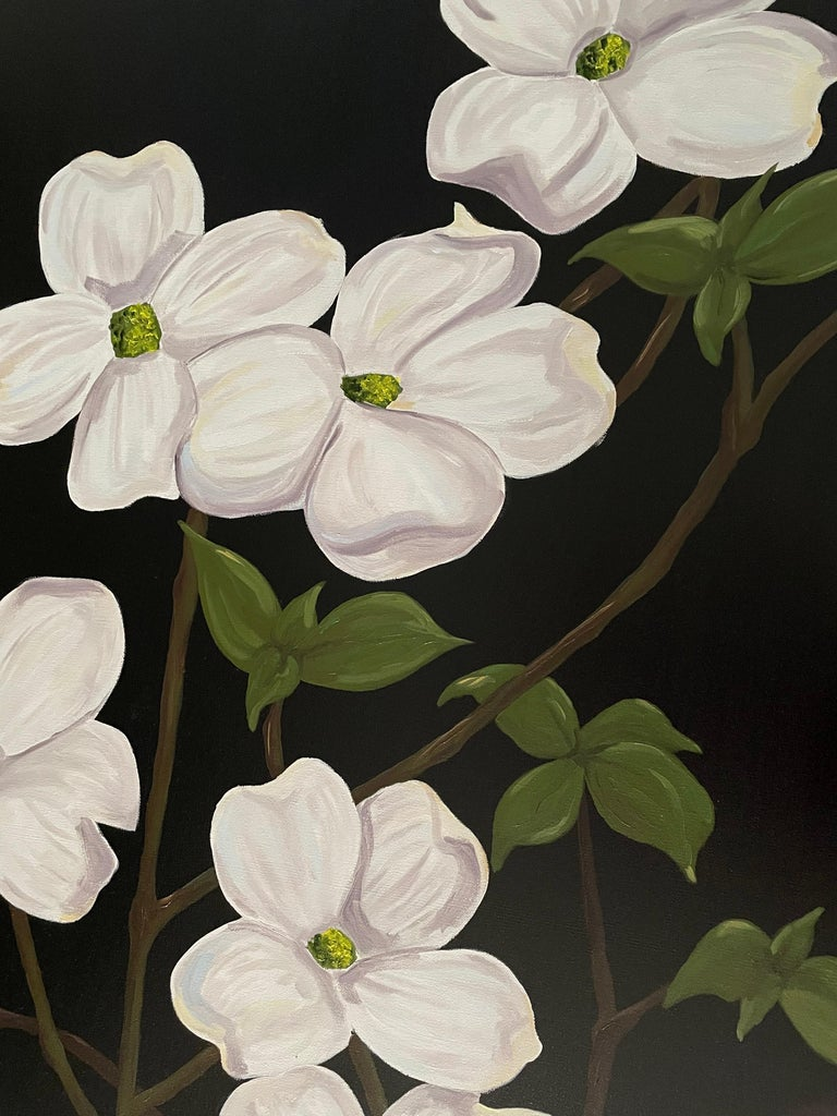 Jubilant White Flowers with Verdant Leaves on Branches. Title - Wild Dogwood - American Realist Painting by Ken Miller