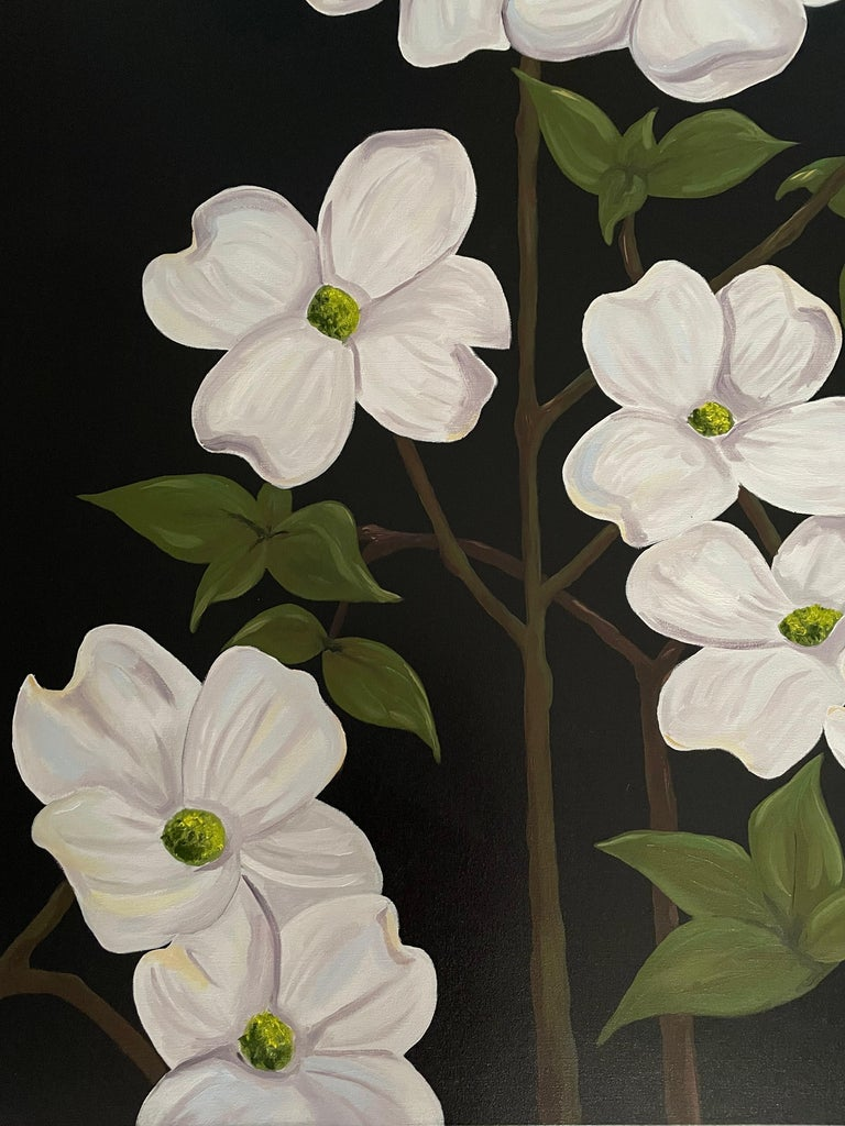 Ken Miller Still-Life Painting - Jubilant White Flowers with Verdant Leaves on Branches. Title - Wild Dogwood