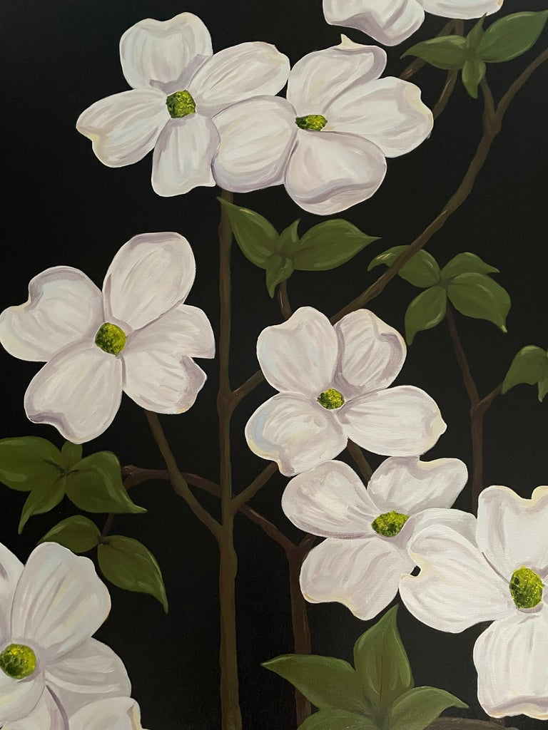 Jubilant White Flowers with Verdant Leaves on Branches. Title - Wild Dogwood For Sale 1