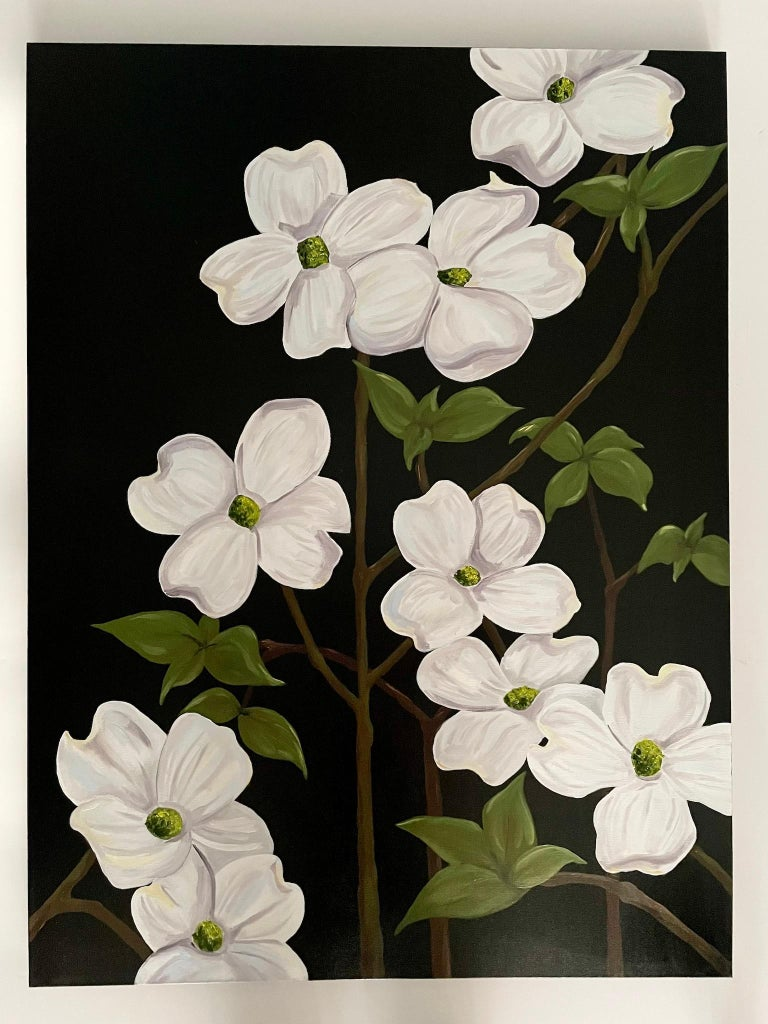 Jubilant White Flowers with Verdant Leaves on Branches. Title - Wild Dogwood - Painting by Ken Miller