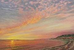 Nature on Fire at Sunset . Title - Sunset over Gardiners Bay at Lion Head