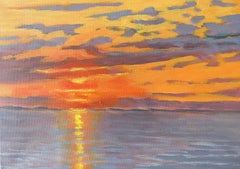 Impressionistic Rendering of a Fiery Sunset . Title - Impressionist Sunset