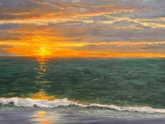 Seascape with sunlight through clouds on the horizon. Title - Twilight