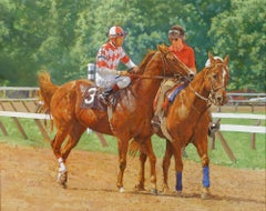 """Dahl Taylor, """"#3 on the Backstretch"""", Realistic Equine Oil Painting on Canvas"""