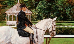 """Dahl Taylor, """"Dressage"""" Horse and Rider Equine Oil Painting on Canvas, 22x36"""