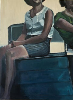 """Beth Dacey, """"Woman With Boat"""", Vintage Figurative Oil Painting, 2020"""