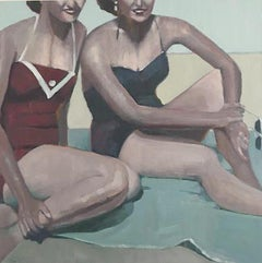 """Beth Dacey, """"Fun in the Sun"""", Vintage Figurative Beach Oil Painting, 2020"""
