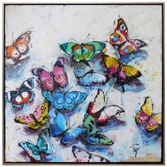 """Trip Park, """"Foolish Flies"""", Whimsical Butterfly Oil Painting on Canvas, 2020"""