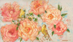 """Lisa Palombo """"Coral Sunset"""" Pink Floral and Yellow Birds Acrylic on Canvas, 2020"""
