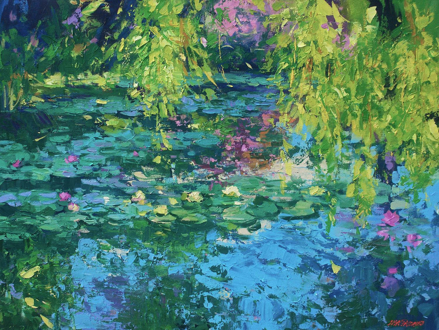 """Lisa Palombo """"Weeping Willow Pond"""" Lily Pond Acrylic Painting on Canvas, 2020"""