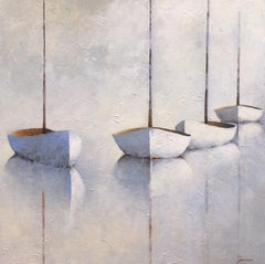 """Leslie Berenson """"Stillness of the Masts"""" Sailboats Oil Painting on Canvas, 2018"""