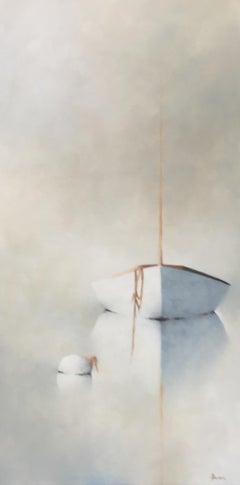 """Leslie Berenson, """"Hear the Calm"""", Misty Sailboat and Buoy Oil Painting, 2020"""