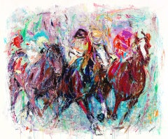 """Gabrielle Benot, """"In the Money"""", Colorful Contemporary Horse Race Painting, 2019"""