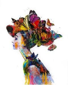 "Gabrielle Benot ""Free Spirit"" Contemporary Mixed Media Woman Portrait, 2020"