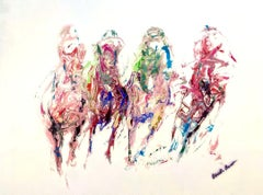 """Gabrielle Benot, """"Color Run"""", Contemporary Horse Race Painting on Canvas, 2020"""
