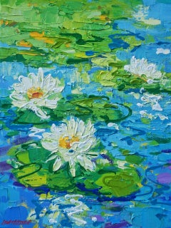 """Lisa Palombo, """"Floating Jewels #5"""", Lily Pond Painting on Canvas, 2018"""