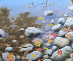 """Ken Otsuka, """"Autumn Pond"""", Realistic Fall Rocky Shore Oil Painting on Canvas"""