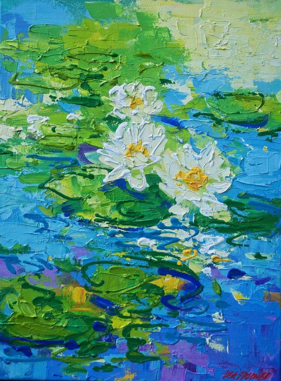 """Lisa Palombo, """"Floating Jewels #6"""", Lily Pond Painting on Canvas, 2018"""
