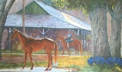 """Dahl Taylor, """"Stables with Blue Buckets"""", Equine Oil Painting, 24x40"""