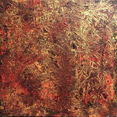 Abstract Expressionist Contemporary Painting by Troy Smith, Gold, Red, Orange
