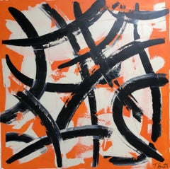 Abstract Expressionist Contemporary Painting by Troy Smith, Black, White, Orange