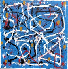 Abstract Expressionist Fine Art Contemporary Painting by Troy Smith, Blue, White