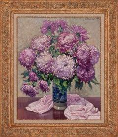 [Vase Aux Chrysanthèmes Violets] Large Floralscape Painting by Paul Terpereau