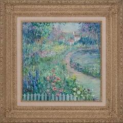 Garden Scene Landscape Oil Painting on Canvas by Irene Borg, Framed