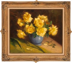 [Yellow Roses] Floral Still Life Oil Painting on Canvas by Vernon Kerr, Framed