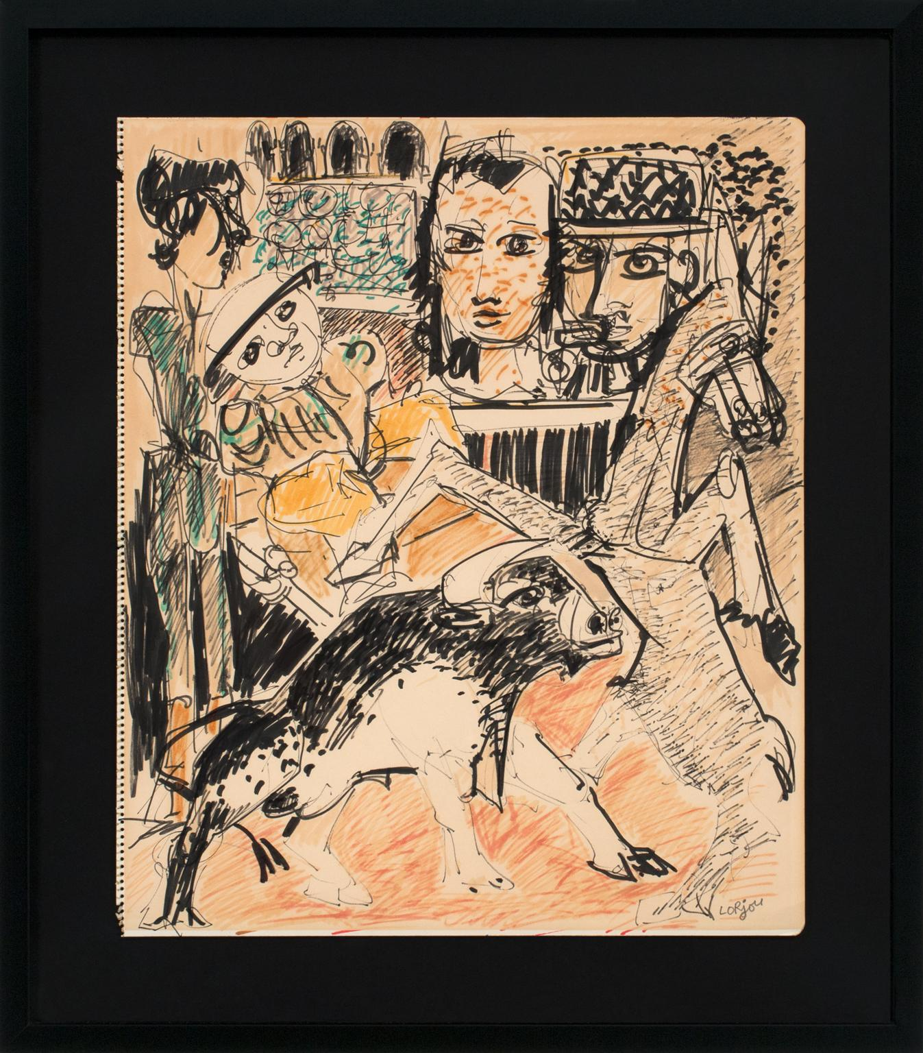 """La Corrida"" Original Mixed Media Drawing on Paper by Bernard Lorjou, Framed"