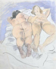 Two Reclining Nudes, Original Pastel & Pencil Drawing, Raphael Soyer