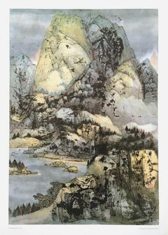 Above the Lake, Offset Lithograph, C.C. Wang