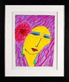 Woman with Pink Flower, Acrylic & Watercolor Painting, Walasse Ting